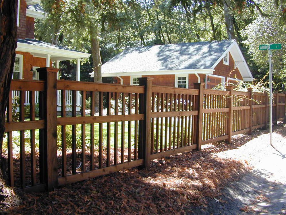 Arts and crafts fences houses plans designs for Craftsman style fence